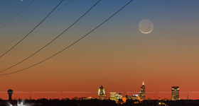 Comet Pan-STARRS with Moon over Raleigh