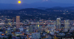 Moonrise over Portland, Oregon Skyline