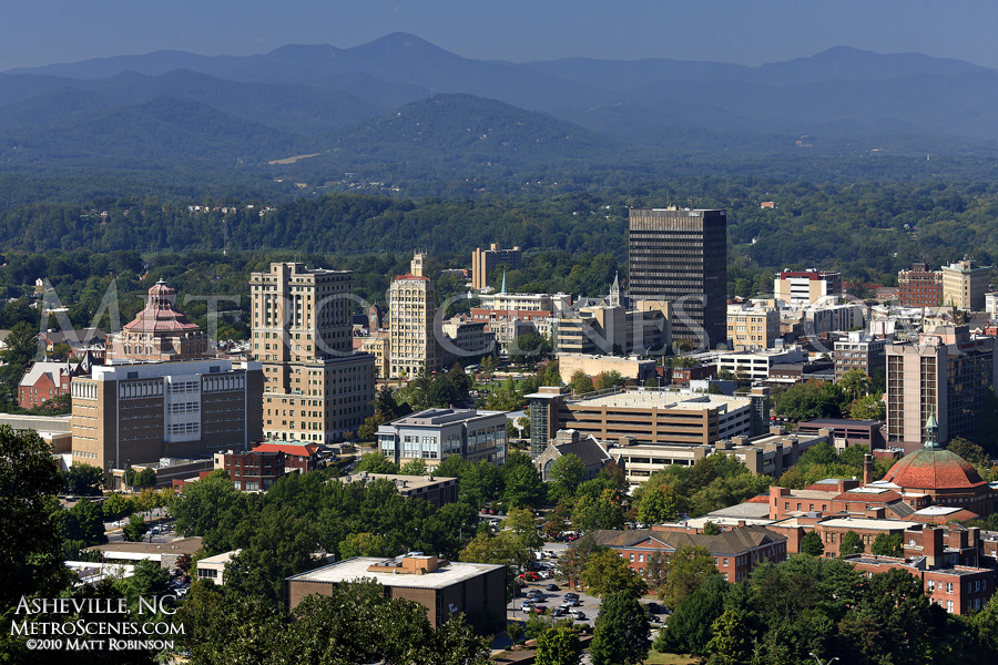 Sunlit Downtown Asheville from Town Mountain