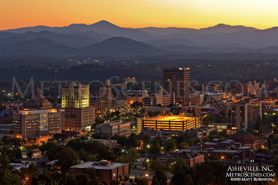 Downtown Asheville and mountains at sunset
