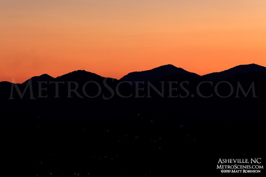 Mountain ridge sunset