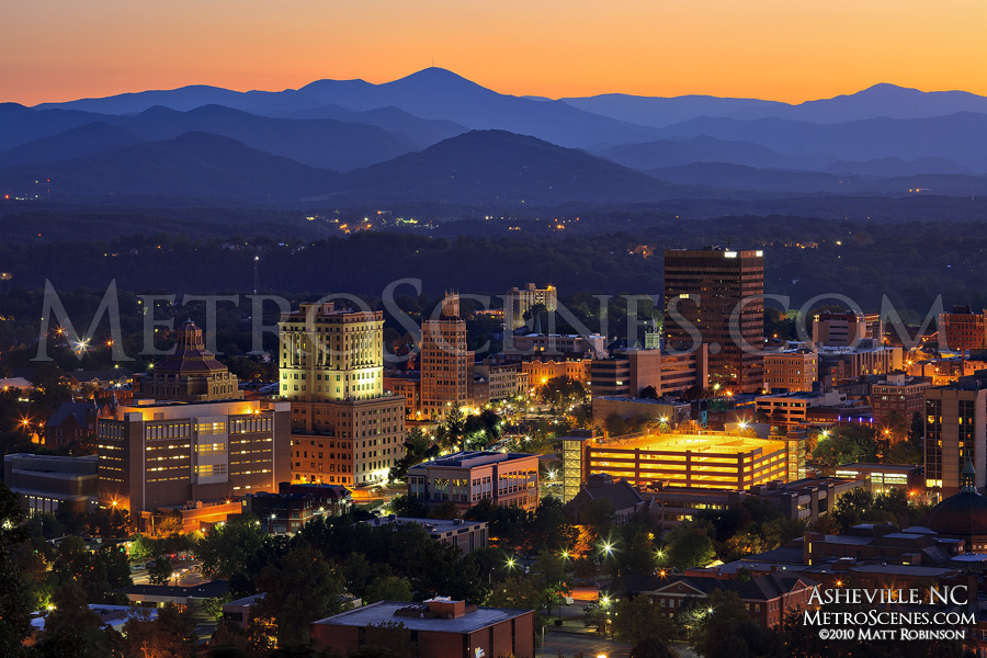 Asheville Sunset and Blue Ridge Mountains