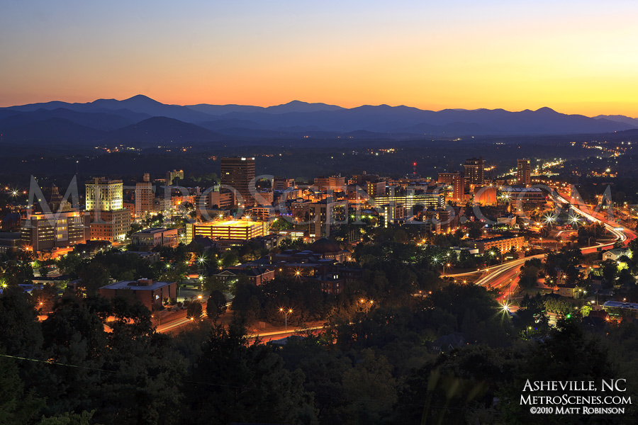 Asheville cityscape at night