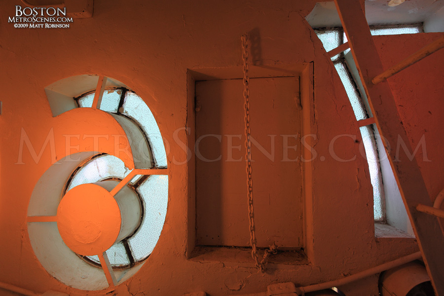 Inside the clock tower face of the Custom House