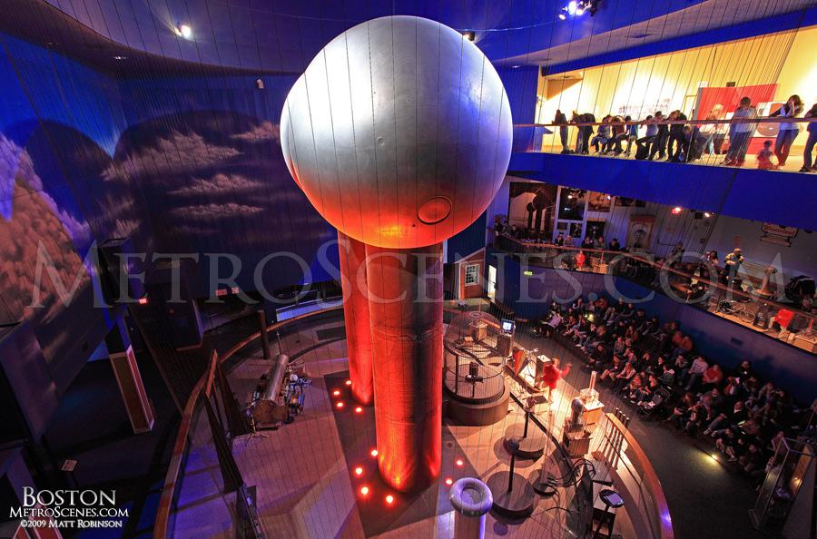 Museum go-ers watch the lightning presentation