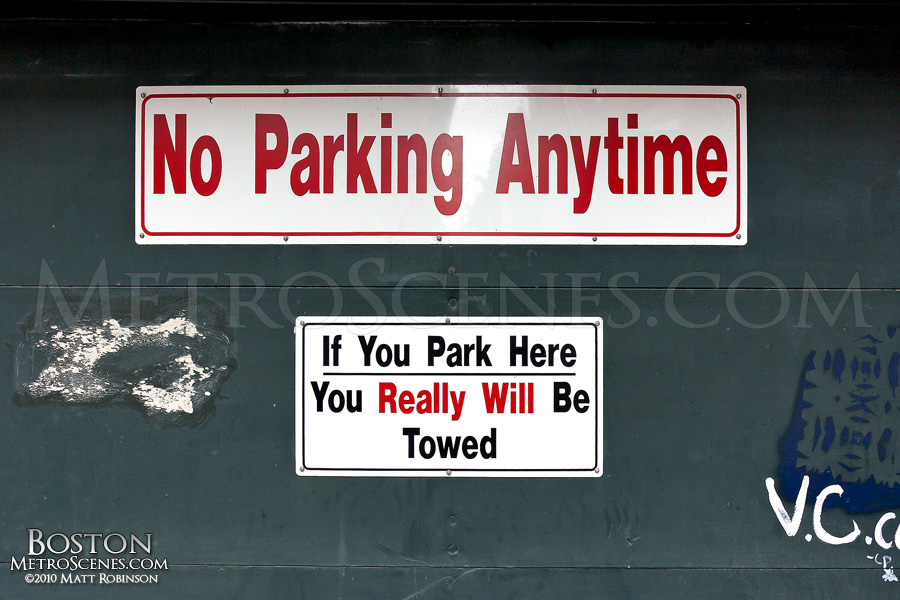If you park here, you really will be towed.