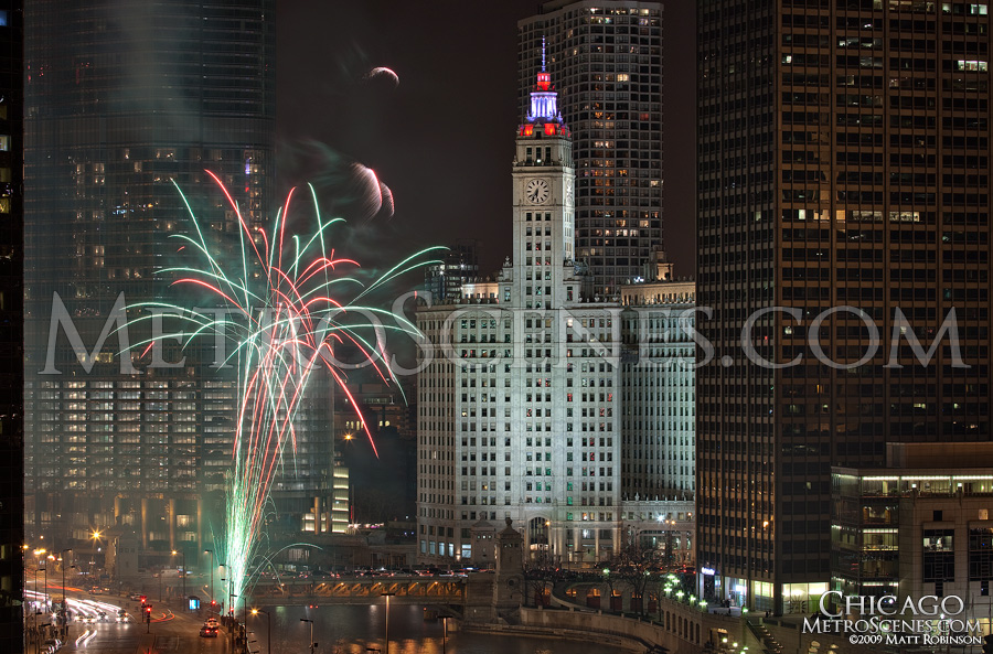 Fireworks at the Chicago River