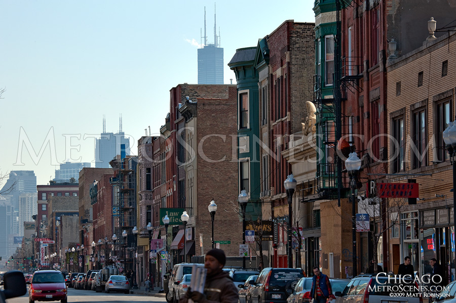 View down Milwaukee Avenue