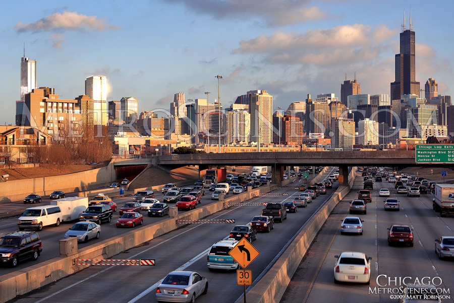 Chicago Skyline and Interstate 94