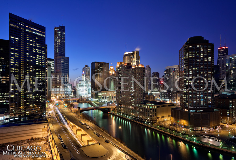 Trump International Hotel and Tower, Chicago rises above the Chicago River