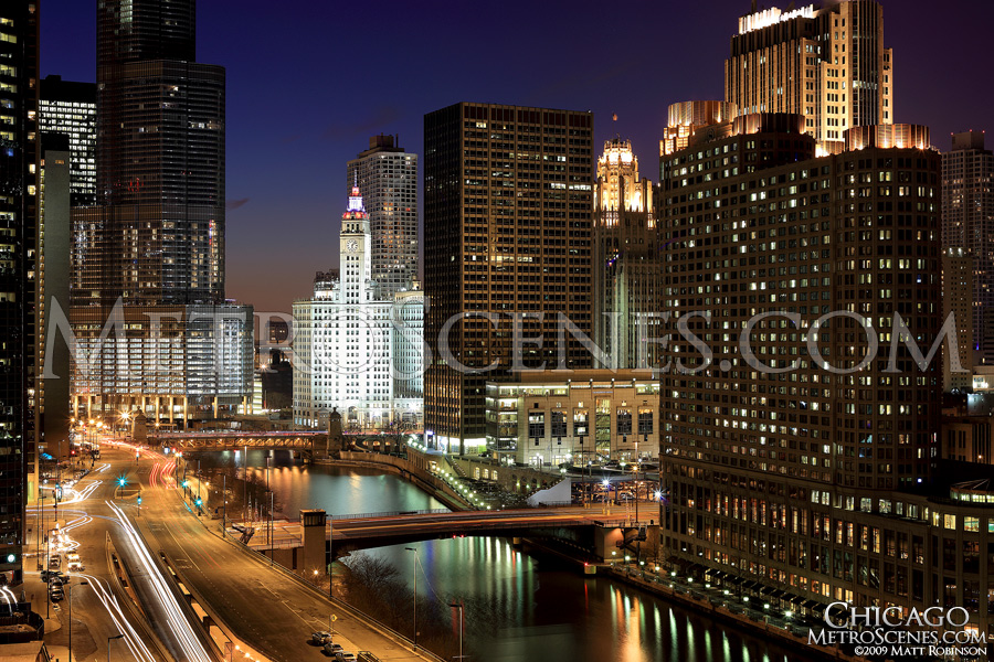 Chicago River from high above East Wacker Drive