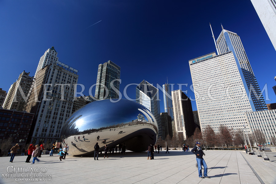 Blue skies and Cloud Gate