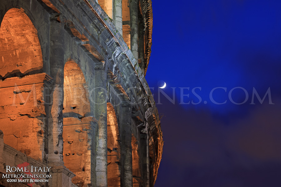 Crescent moon and the Colosseum