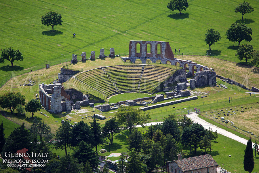 Ruins of the Roman Theater in Gubbio, Italy