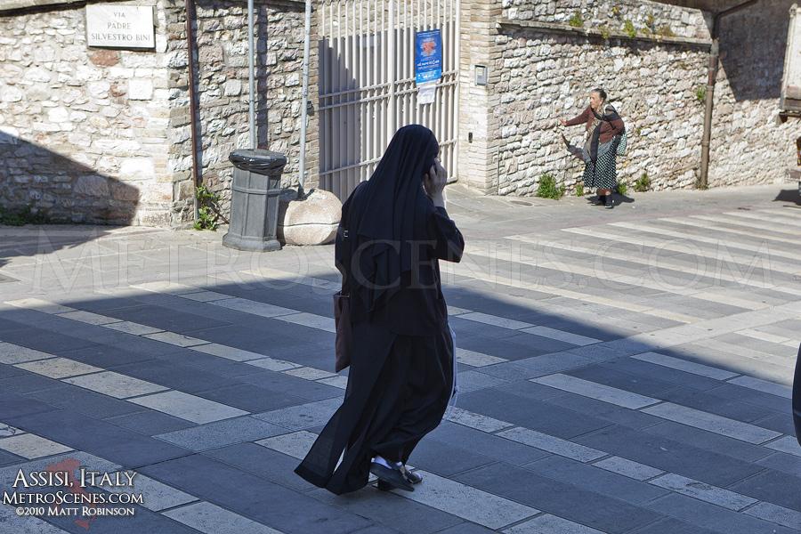 Nun on a cellphone