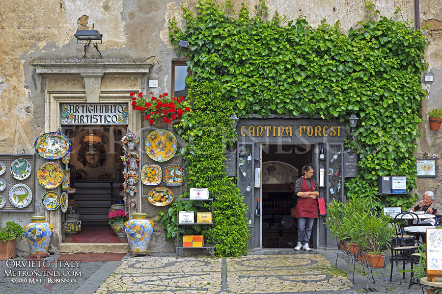 Storefronts in Orvieto, Italy