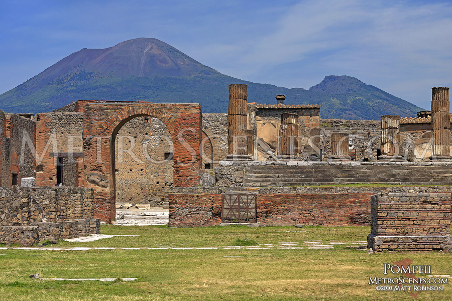 The ruins of Pompeii, Italy with Mt. Vesuvius looming
