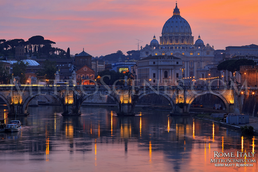 Tiber river at sunset with Vatican City