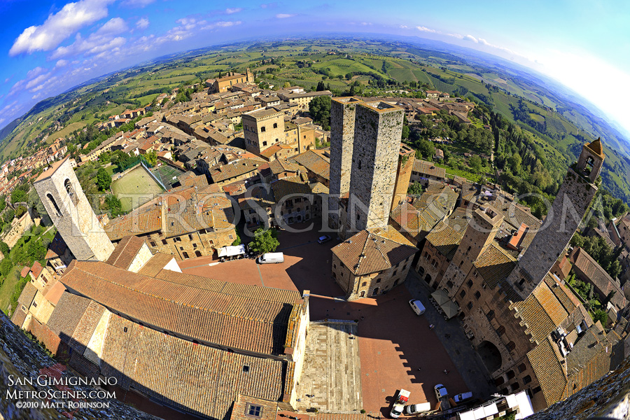View from a tower in San Gimignano
