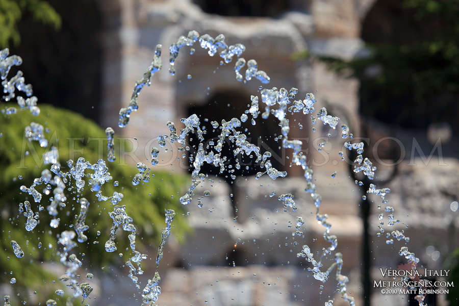 Fountains outside of the arena in Verona