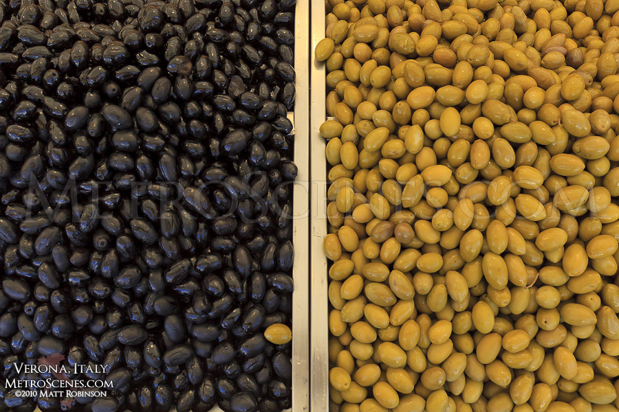 Olives at a market in Verona