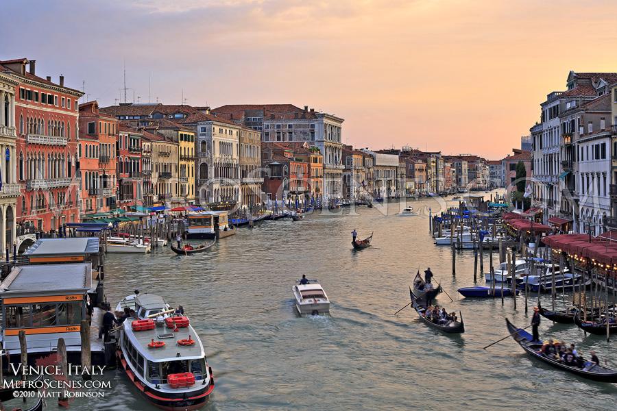 Golden sunset over the Grand Channel in Venice