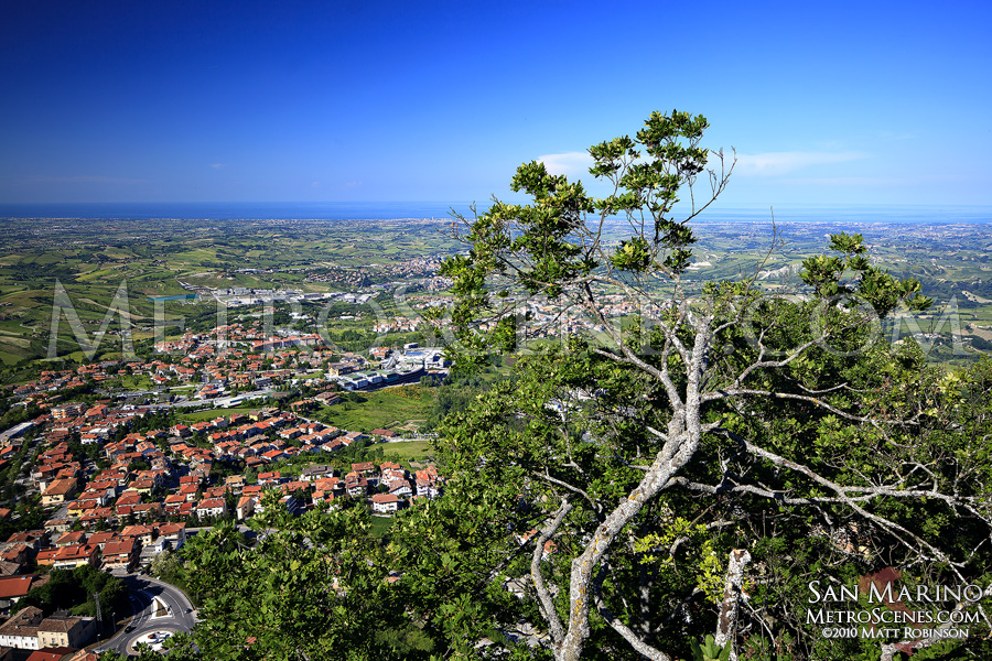 View of Rimini and the Adriatic Sea from San Marino