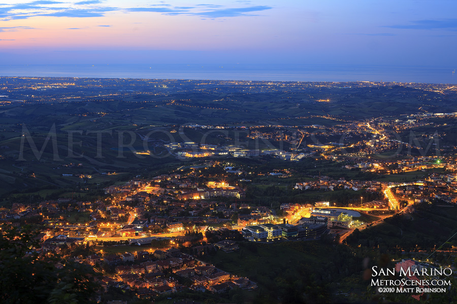 View from San Marino at Sunset