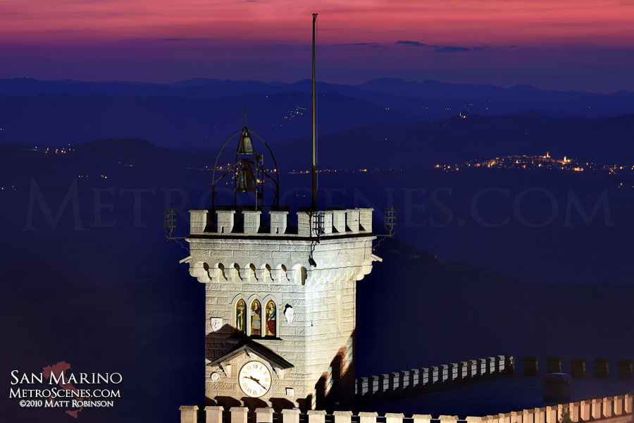 Republic of San Marino after sunset
