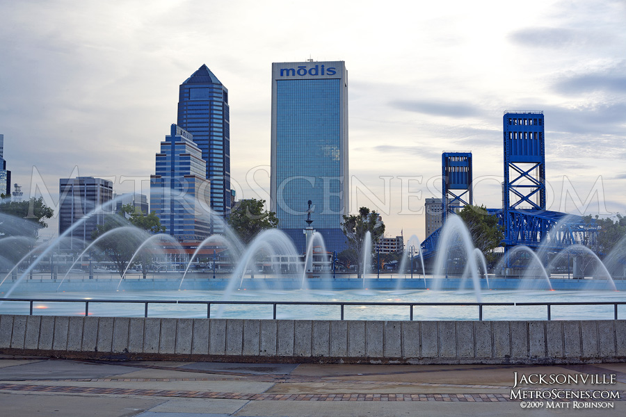 Friendship Fountain with Jacksonville skyscrapers