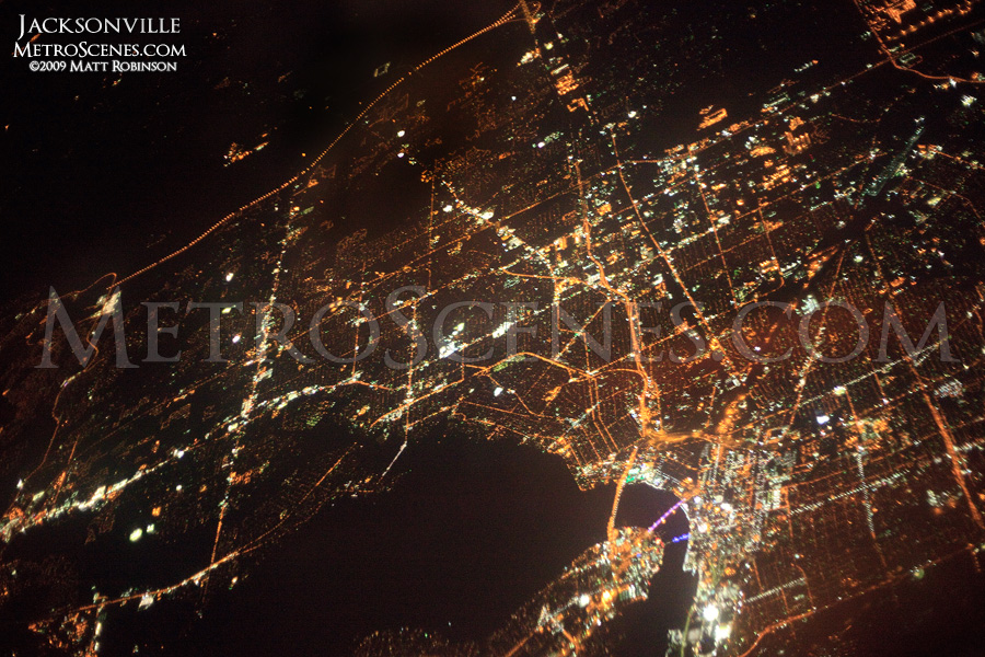 Aerial of Jacksonville at night from 25,000 feet