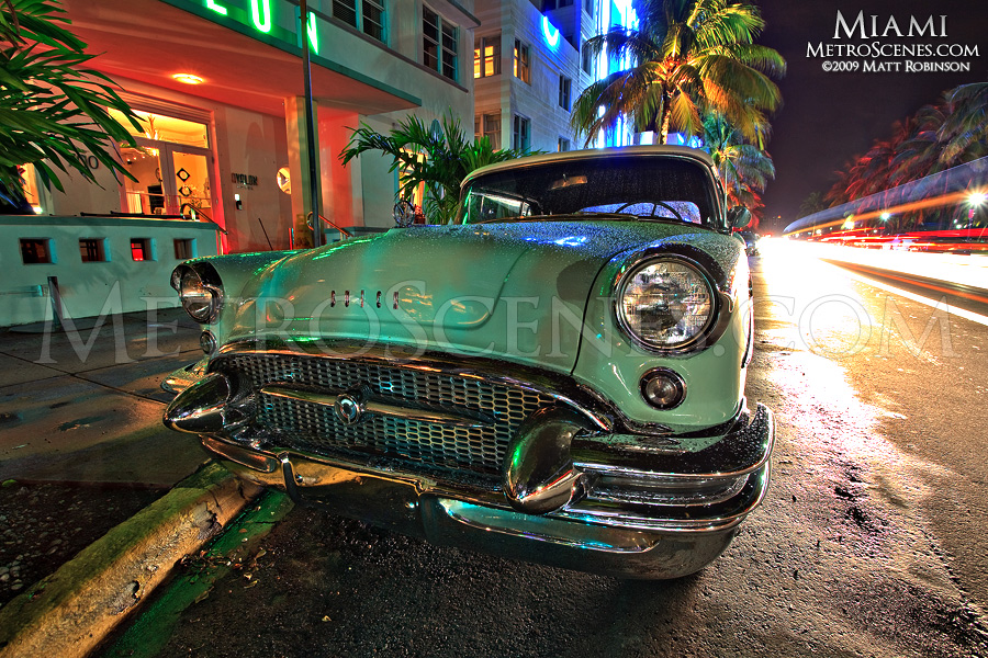 Old Buick Imperial on Ocean Drive in South Beach Miami