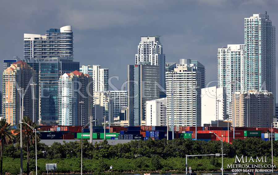 Downtown Miami with cargo containers
