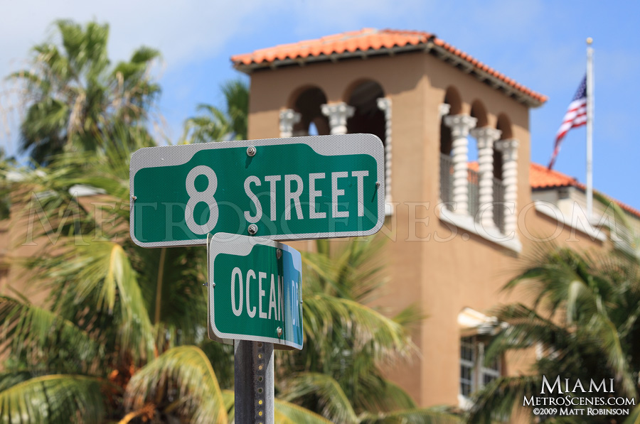 8th and Ocean Street sign, South Beach Miami