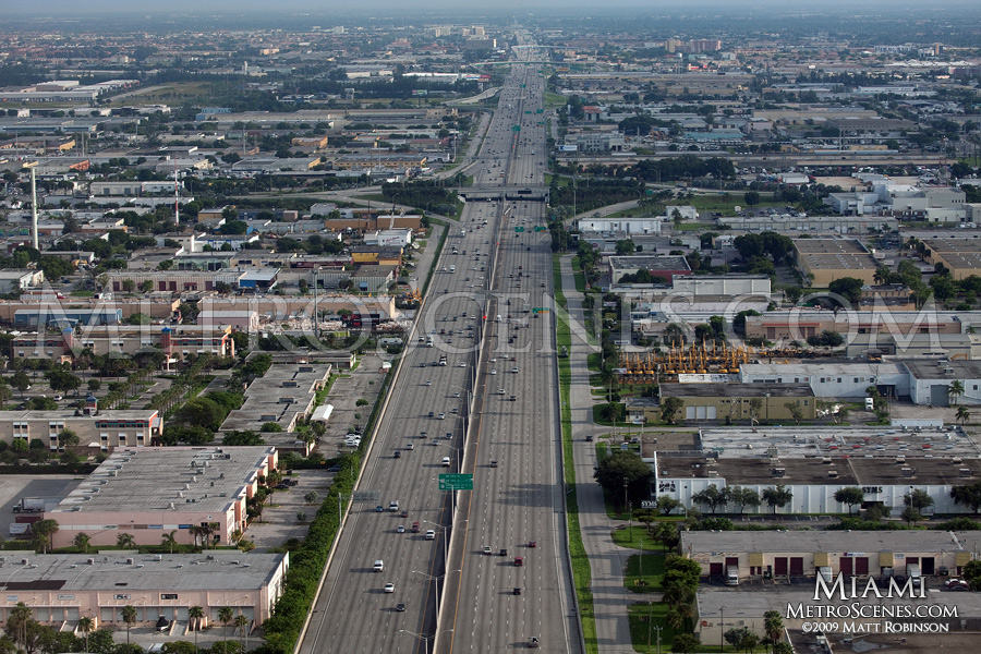 Aerial of I-95 in Miami