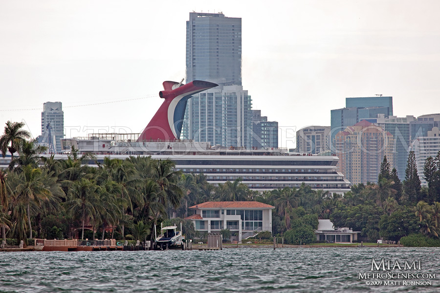 Carnival Cruise ship funnel with Miami Skyline