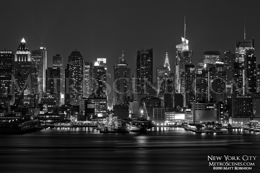 Black and White New York City from Weehawken