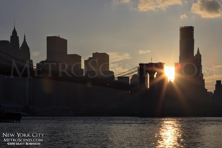 Sunset behind Lower Manhattan from Brooklyn