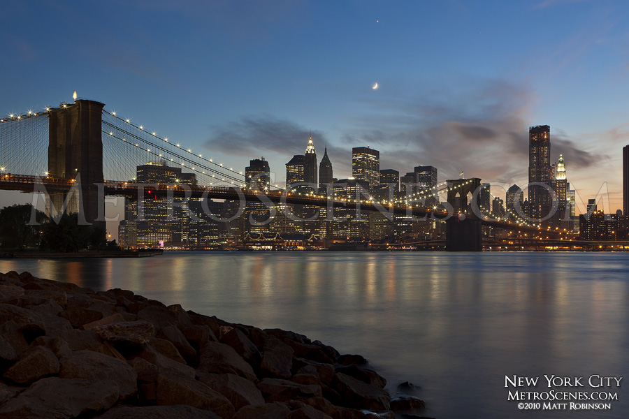 Crescent Moonset over Downtown New York City and the Brooklyn Bridge