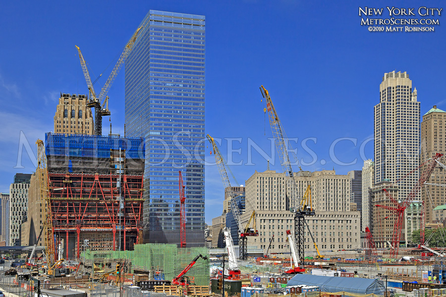 New World Trade Center site under construction with 7 World Trade