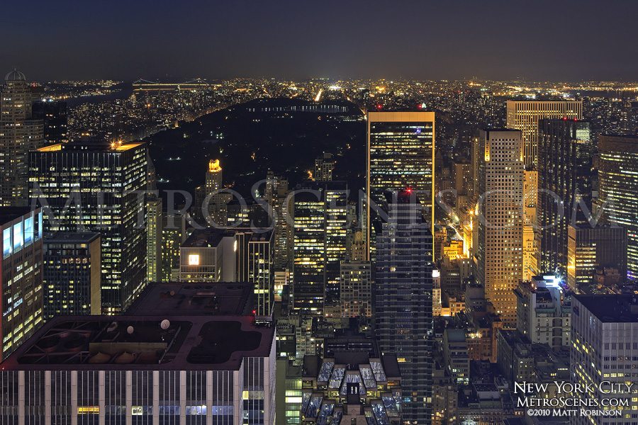 Overview of Central Park at night