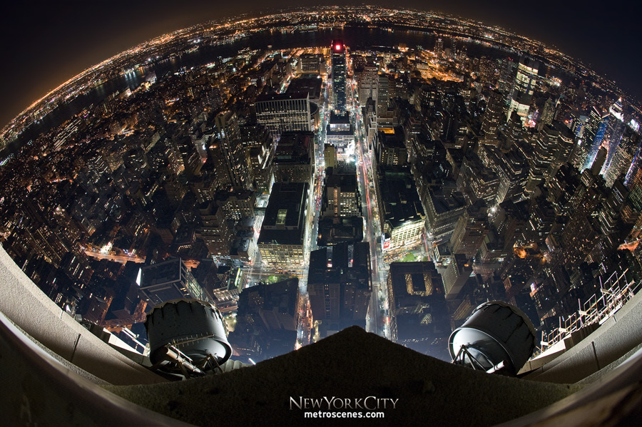Fisheye looking west from atop Empire State.