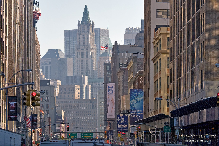 Looking down Varick Street towards the Woolworth Building in Tribeca.