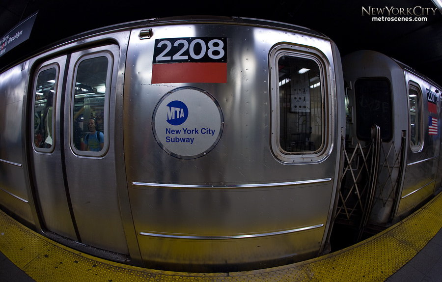 Fisheye of NYC Subway car 2208.