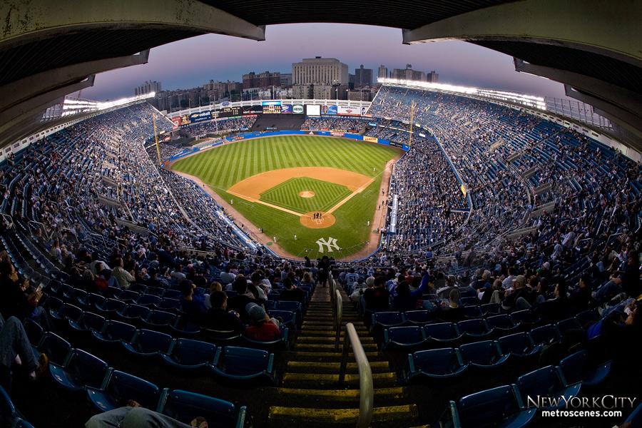From the nosebleed seats at Yankee Stadium.