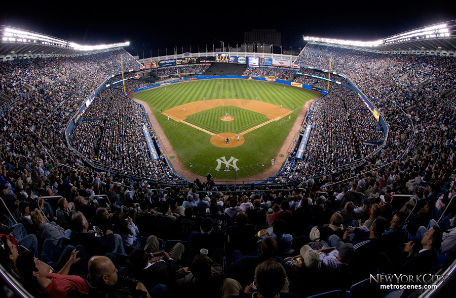 Wide view of Yankee Stadium.