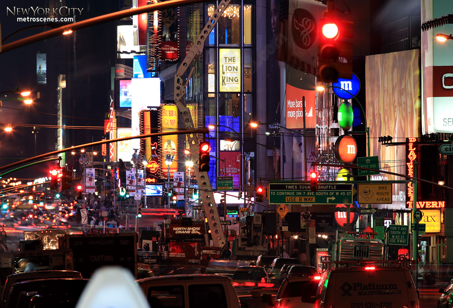 Traffic and Times Square.