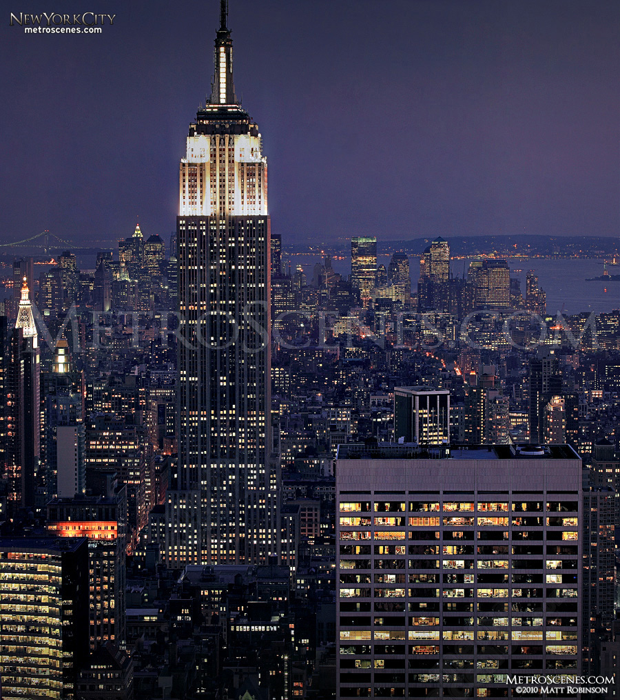 "Classic view of Empire State Building from the ""Top of the Rock""."