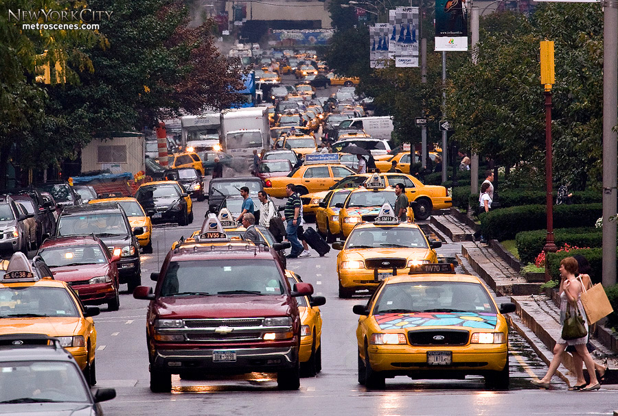 NYC Taxis and traffic along Park Avenue.