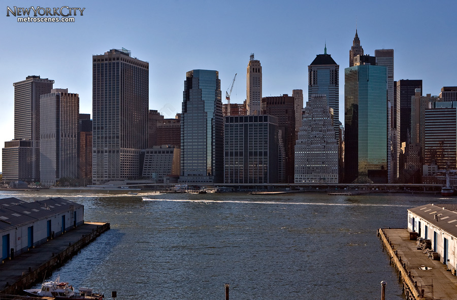 Downtown New York City seen from the Brooklyn Heights Promenade.